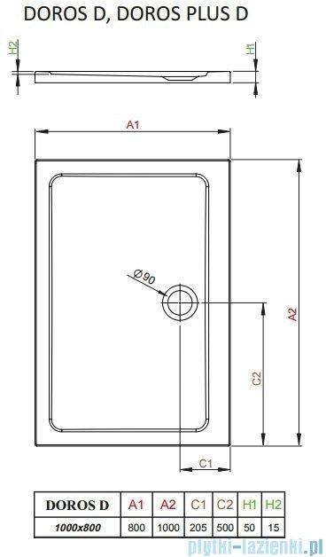 Radaway Arta Kdj II kabina 100x80cm prawa szkło przejrzyste + brodzik Doros D + syfon