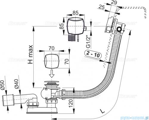 Alcaplast  syfon wannowy z funkcją napełniania przez przelew chrom A564CRM3