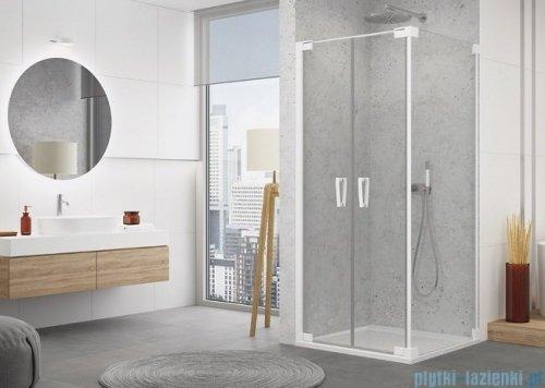 SanSwiss Cadura White Line drzwi wahadłowe 70cm dwuczęściowe profile biały mat CA2C0700907