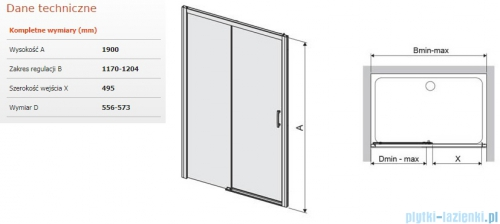 Sanplast Free Zone drzwi przesuwne D2L/FREEZONE 120x190 cm lewe przejrzyste 600-271-3150-38-401