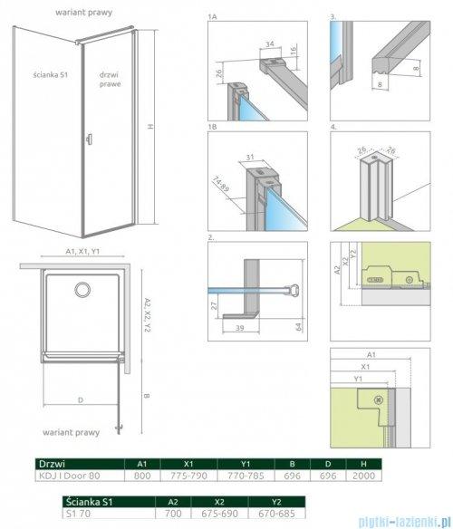Radaway Nes Black Kdj I kabina 80x70cm prawa szkło przejrzyste 10022080-54-01R/10039070-01-01