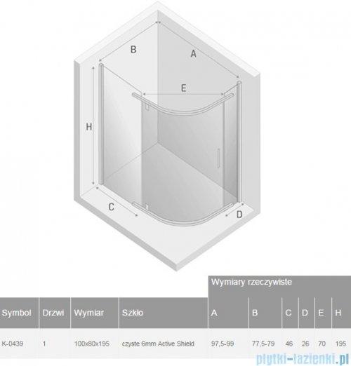 New Trendy New Komfort kabina asymetryczna 100x80x195cm przejrzyste K-0439