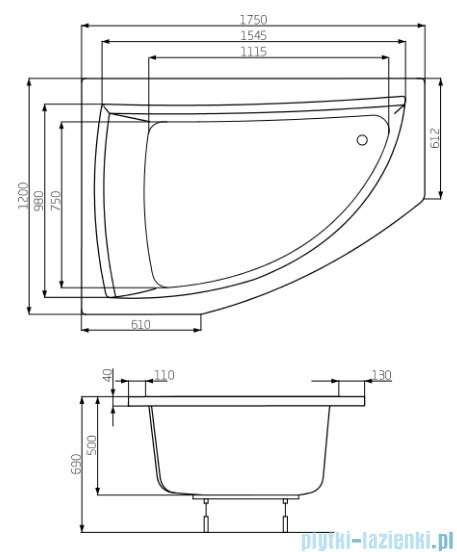 Roca Aquamarina wanna asymetryczna 175x120cm lewa rysunek techniczny