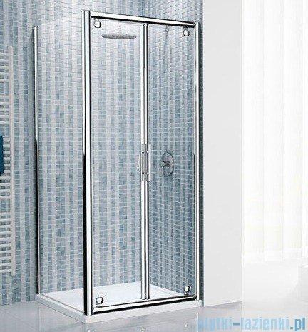 Novellini Drzwi prysznicowe składane LUNES B 96 cm szkło przejrzyste profil srebrny LUNESB96-1B
