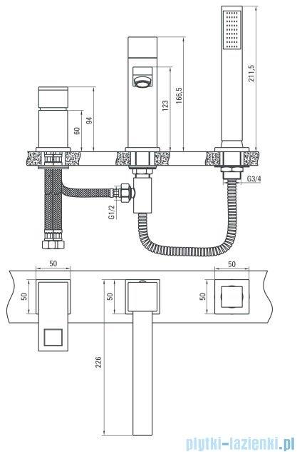 Deante Anemon bateria wannowa 3-otworowa chrom/biel BCZ W130