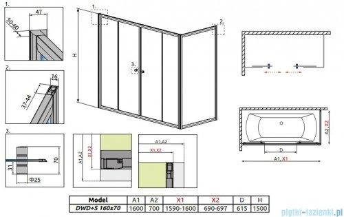 Radaway Vesta DWD+S Parawan nawannowy 160x70cm szkło fabric 203160-06/204070-06
