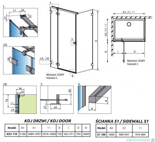Radaway Essenza Pro Gold Kdj kabina 110x100cm lewa przejrzyste 10097110-09-01L/10098100-01-01