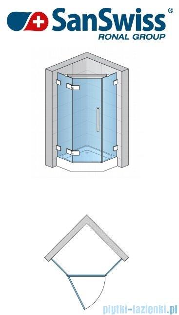 SanSwiss Pur PUT51P Ścianka boczna do kabiny 5-kątnej 30-100cm profil chrom szkło przezroczyste PUT51PSM11007