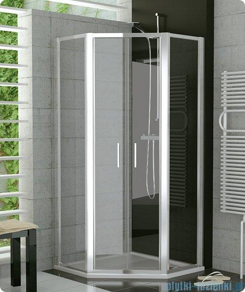 SanSwiss Top-Line Pięciokątna kabina prysznicowa TOP52 z drzwiami otwieranymi 100x100cm Pas satynowy poziomy/biały TOP5270800451