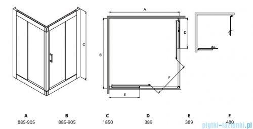 Besco Modern kabina kwadratowa 90x90x185cm mrożone rysunek techniczny