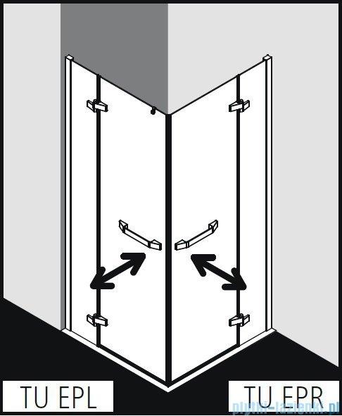 Kermi Tusca wejście narożne, jedna połowa, lewa, szkło przezroczyste KermiClean, profil srebro 90x200cm TUEPL09020VPK