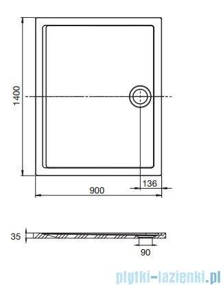 Roca Aeron brodzik prostokątny 140x90x3,5cm szary łupek + syfon A276296200