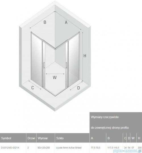 New Trendy Prime Black kabina prostokątna 80x120x200 cm przejrzyste D-0312A/D-0321A