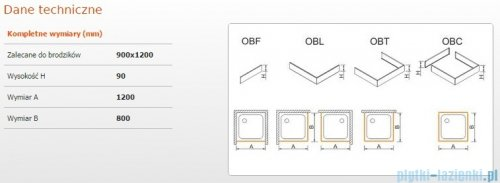 Sanplast Obudowa brodzika OBL 90x120x9 cm 625-400-1550-01-000