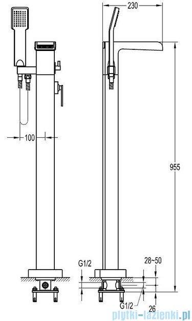 Omnires Cascade bateria wannowa wolnostojąca z kompletem natryskowym chrom CA4033CR