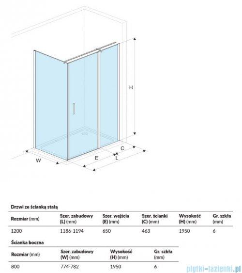 Excellent Mazo kabina prostokątna 120x80 cm przejrzysta