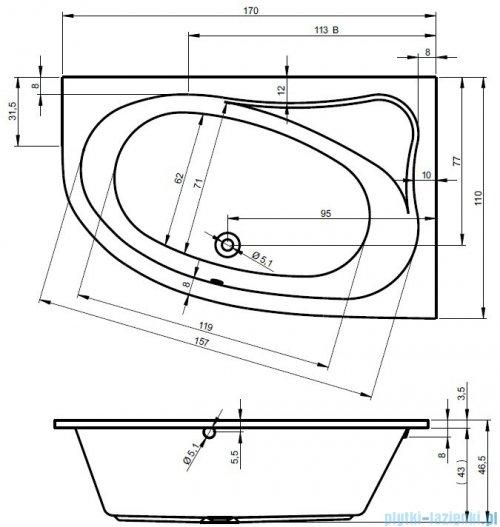 Riho Lyra wanna asymetryczna lewa 170x110 z hydromasażem LUX Hydro 4+4+2/Aero11 BA64L8