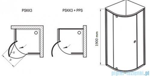Ravak Kabina prysznicowa Pivot PSKK3 półokrągła 90x90 białe + chrom transparent 37677100Z1