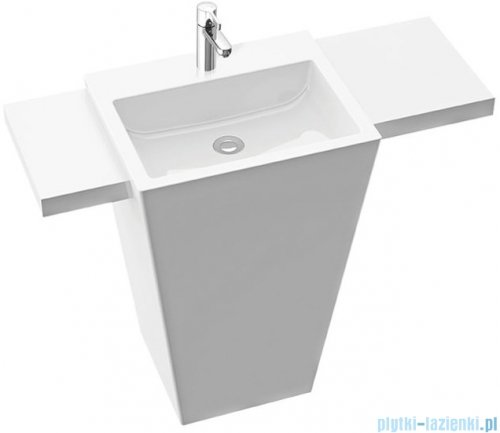 Marmorin Tebe 55 SL umywalka stojąca z lewą długą i prawą krótką półką z otworem biały połysk PS0821805500110003