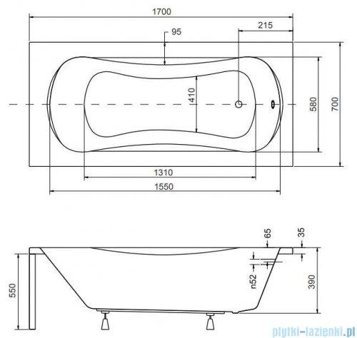 Besco Aria 170x70cm wanna prostokątna + obudowa + syfon #WAA-170-PA/#OAA-170-PA/19975