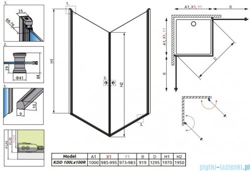 Radaway Eos KDD kabina prysznicowa 100x100 szkło przejrzyste rysunek techniczny