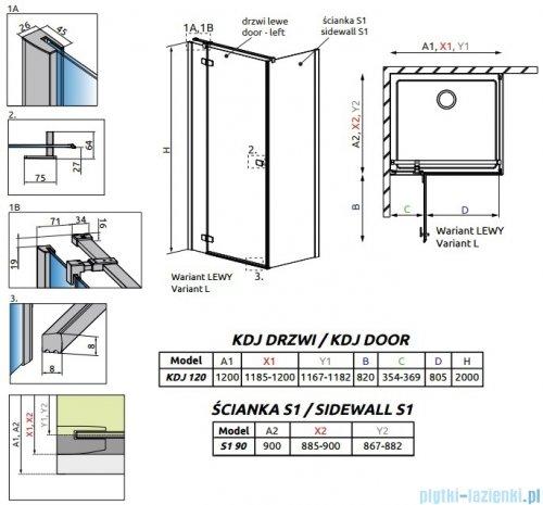 Radaway Fuenta New Kdj kabina 120x90cm lewa szkło przejrzyste + brodzik Doros D + syfon rysunek techniczny