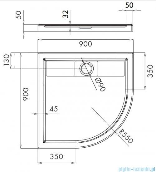 Omnires Brooklyn brodzik półokrągły akrylowy 90x90 cm Brooklyn90/O