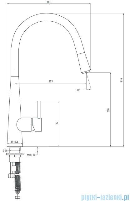 Deante  Aster bateria zlewozmywakowa stojąca z wylewką U z wyciąganą słuchawką grafit BCA 272M