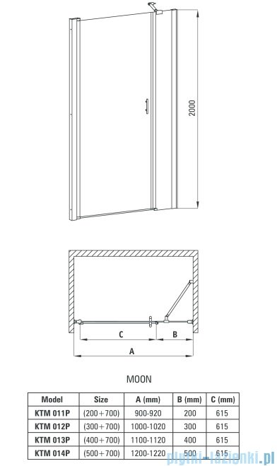 Deante Moon drzwi wnękowe uchylne 120 cm KTM 014P