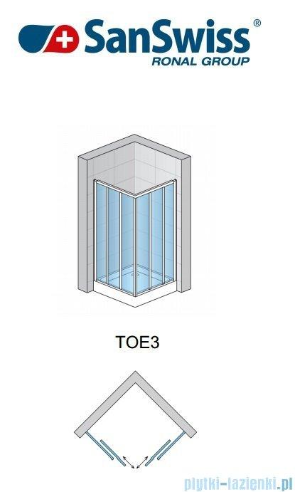 SanSwiss Top-Line TOE3 Wejście narożne 3-częściowe 120cm profil połysk Lewe TOE3G12005007