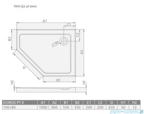 Radaway Doros PT E brodzik pięciokątny prawy 100x80cm SDRPT1080-01R