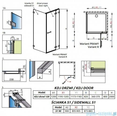 Radaway Euphoria KDJ Kabina prysznicowa 120x90 prawa szkło przejrzyste + brodzik Argos D + syfon 383812-01R/383240-01R/383050-01/4AD912-01