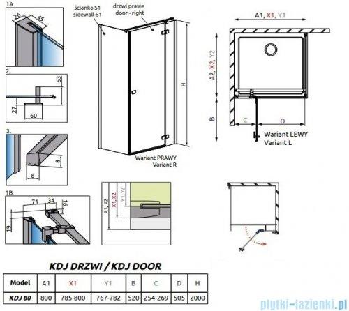 Radaway Essenza New Kdj drzwi 80cm prawe szkło przejrzyste 385043-01-01RRadaway Essenza New Kdj drzwi 80cm prawe szkło przejrzyste 385043-01-01R