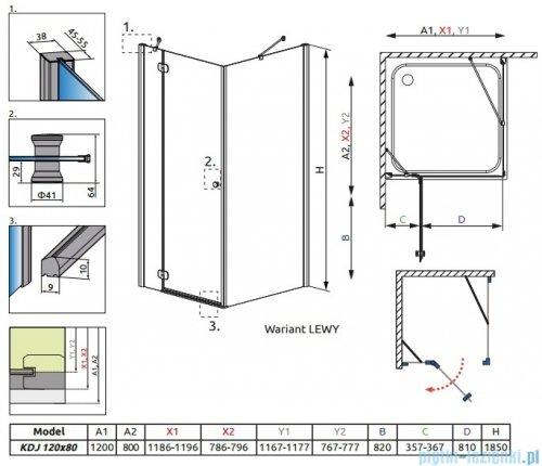 Radaway Torrenta Kdj kabina 120x80 lewa szkło grafitowe 32232-01-05NL