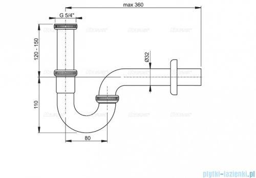 """Alcaplast półsyfon umywalkowy """"U"""" DN32 z nakrętką 5/4"""", metal A4320"""
