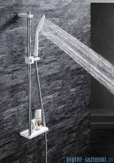 Omnires Siena-S zestaw prysznicowy suwany z mydelniczką biały/chrom SIENA-SCRB
