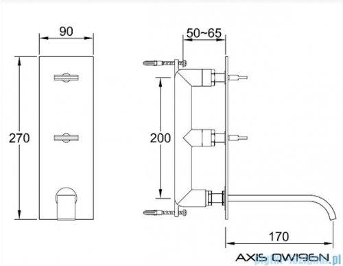 Kohlman Axis podtynkowa bateria umywalkowa QW196N