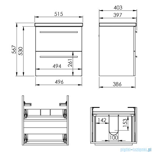 Elita Kwadro Plus Set zestaw szafka z umywalką 51x53x40cm anthracite 166948