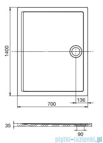 Roca Aeron brodzik prostokątny 140x70x3,5cm biały + syfon A276290100