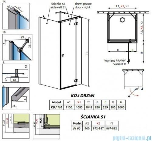 Radaway Essenza New Kdj+S kabina 90x110x90cm prawa szkło przejrzyste 385023-01-01R/384050-01-01/384050-01-01