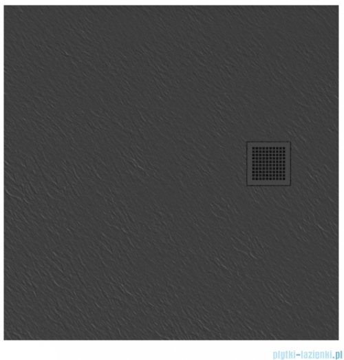 New Trendy Mori brodzik kwadratowy z konglomeratu 90x90x3 cm szary