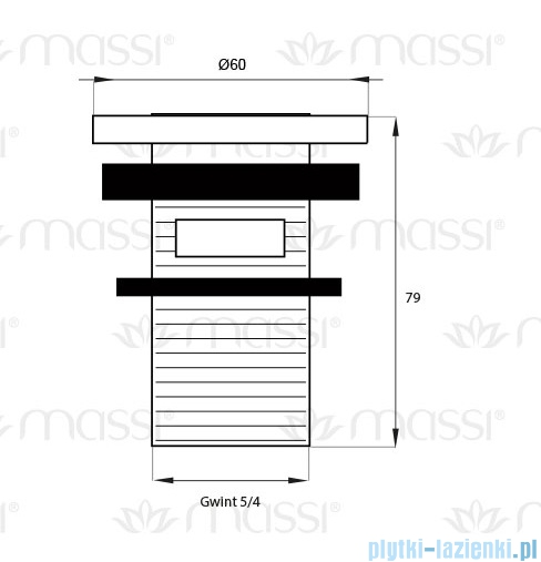 Massi korek klik klak mały z przelewem chrom MSA-KK-06
