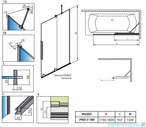 Radaway Furo Black PND II parawan nawannowy 180cm prawy szkło przejrzyste 10109938-54-01R/10112894-01-01