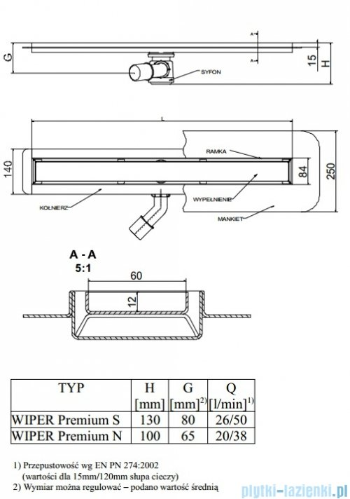Wiper Odpływ liniowy Premium Sirocco 100cm z kołnierzem mat S1000MPS100