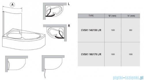 Ravak Rosa Chrome CVSK1 parawan nawannowy 140/150 prawy satyna transparent 7QRM0U00Y1