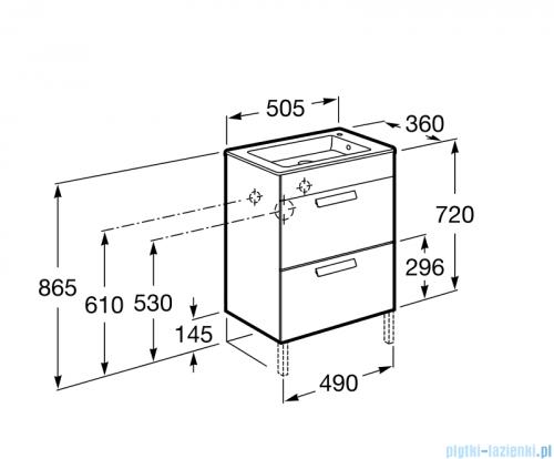 Roca Debba Unik Compacto 50 zestaw łazienkowy z 2 szufladami biały połysk A855904806