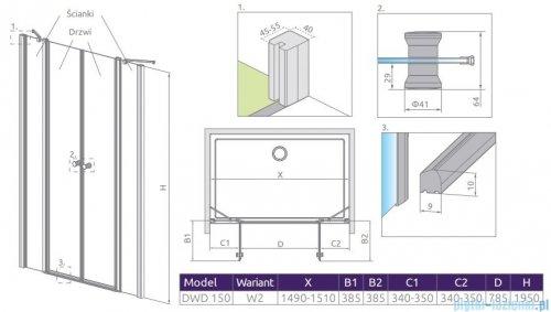 Radaway Eos II Dwd drzwi prysznicowe 150x195 W2 szkło przejrzyste 3799830-01-01/3799670-01-01
