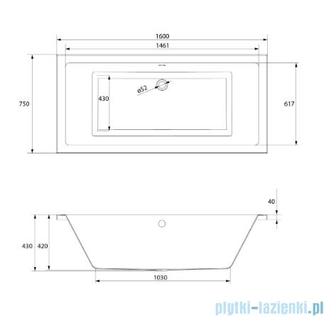 Cersanit Intro wanna prostokątna 160x75 biała S301-067