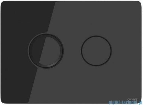Cersanit Accento Circle przycisk spłukujący pneumatyczny 2-funkcyjny szkło czarne S97-053