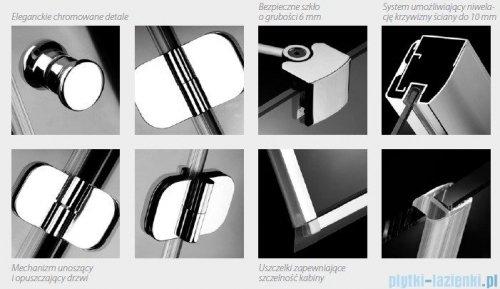 Radaway Torrenta Kdd Kabina prysznicowa 100x80 szkło przejrzyste + brodzik Doros D + syfon detale